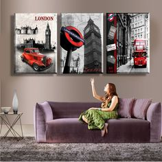 New 3 Piece Free Shipping Hot Sell Modern Wall Painting London City Scenery Home Decorative Art Picture Paint On Canvas Prints