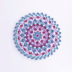 Pink & Blue Beaded Mat Coaster Home Decor by ChikaBeadwork on Etsy