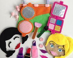 Felt Doll, set makeup, gift for the girl, Make up Activity Bag, Doll make-up, play set, quiet activity, Busy Bag, pretend, doll face, felt