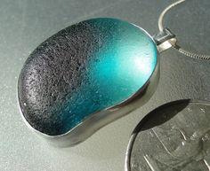 HL Sea Glass & Beach Glass Jewelry, English teal sea glass necklace.