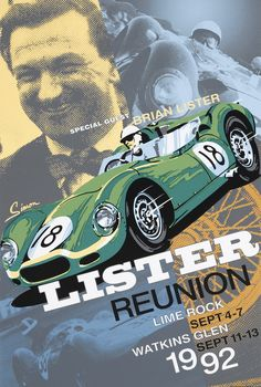 Lister Vintage Style Racing Poster by © Dennis Simon. This poster is available at centuryofspeed.com