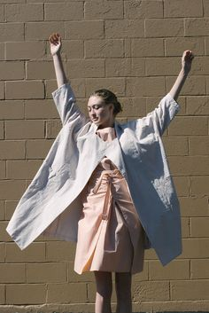 Cosmic Wonder Old White Canvas Kimono Coat