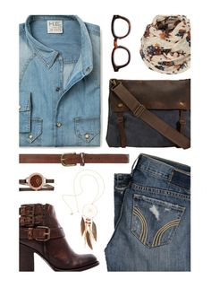 """Double Denim"" by kearalachelle ❤ liked on Polyvore featuring MANGO, Hollister Co., Steven by Steve Madden, Dorothy Perkins, H&M and Caravelle by Bulova"