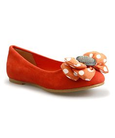 Look at this Orange Puffy Bow Suede Flat on #zulily today!