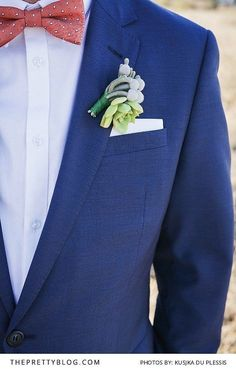Navy groom's suit with red bow-tie and desert rose boutonniere Navy Groom, Groom And Groomsmen, Rose Boutonniere, Red Bow Tie, Desert Rose, Rustic Elegance, Wedding Planning, Wedding Ideas, Floral Tie