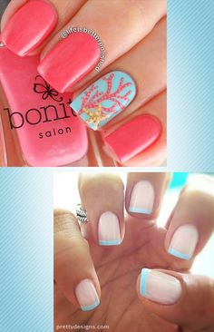 More good summer nail polish ideas!  Designs by http://prettydesigns.com and http://lifeisbetterpolished.blogspot.com