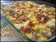 LOW CARB LOADED CAULIFLOWER   I have reposted this several times but it is my most requested recipe right now. If you have not tried it, it is a MUST! It's low carb too!!!!!   Ingredients: 1 large head of Cauliflower cut into bite size pieces (approx 6 cups) 6-8 strips of bacon cooked and crumbled (Cooked in oven at 400° for 20 mins) 6 Tbs chopped Chives 1/2 cup Mayonnaise 1/2 cup Sour Cream 2 cups Colby Jack Cheese ( may use cheddar) 8 oz ...