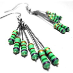Upcycled Resistor Dangle Earrings Spring Green Purple Computer Part Jewelry by CloneHardware $15.00 #ecoetsy