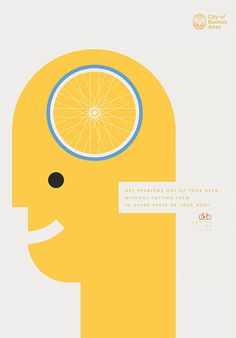 Better by Bike: Posters by La Comunidad  Argentinian studio La Comunidad was commissioned by the city of Buenos Aires to produce this colorful series of posters promoting the health benefits of cycling.
