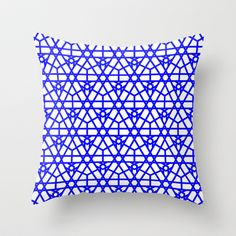 Moroccan Stars in Peacock Blue Throw Pillow by House of Jennifer - $20.00
