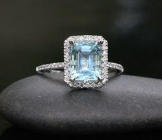 White Gold Aquamarine Emerald Cut and Diamonds Wedding or Engagement Ring (Choose color and size options at checkout) Emerald Cut Aquamarine Ring, Aquamarine Jewelry, Aquamarine Stone, Halo Diamond, Blue Sapphire, Bridal Rings, Wedding Rings, Gold Wedding, Aquamarin Ring