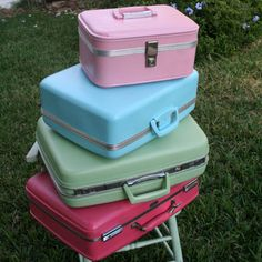 Like the SMALL PINK ONE IN TOP------left open with everything decoratively placed inside the inside gift bag??-But we spray it a nice shimmery color-------------Vintage luggage