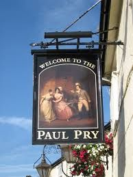The Paul Pry Pub at 14 High Road, Rayleigh, Essex, England. Dating back to the Tudor times the pub has kept its traditional qualities.The name 'Paul Pry' originates from the 1823 play by John Paul - Paul Pry being cast as a busybody, unable to mind his own business. The name stuck and has applied to eavesdroppers and busybodies ever since