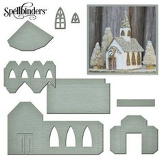 HixxySoft Spellbinders A Gilded Life Beacon St Chapel Die Set Christmas Villages, Christmas Village Houses, Putz Houses, Fairy Houses, Pap… Christmas Village Houses, Putz Houses, Christmas Villages, Fairy Houses, Little Christmas, Christmas Home, Miniature Christmas, Christmas Things, Christmas Christmas