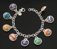 """vintage bottle cap """"charm"""" bracelet.  Yes, please!"""