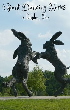 The Giant Dancing Hares roadside attraction can be seen in Dublin, Ohio