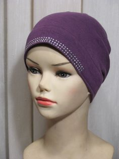 Beaded Cotton Bonnet Cap Purple  (for under the Hijab)