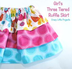 Use this easy baby skirt tutorial and pattern to make an adorable three layer ruffle skirt for your girl.