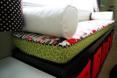 Cushioned bench with storage- perfect for the playroom!