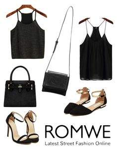 """ROMWE"" by zahirovic ❤ liked on Polyvore featuring black and romwe"