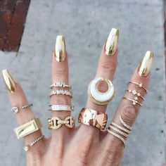Perfect gold chrome nails by @nailthoughts for @jaimiegellerjewelry 💅❤️ Shop for gold chrome powder at DailyCharme.com ⬅️ Limited time only $10 off $65+ with code TENOFF65 ⬅️