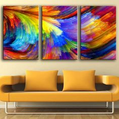Canvas Painting Wall Pictures 3 Panels colorful Rainbow Wall Pictures for Living Room Restaurant Posters And Prints, Living Room Pictures, Wall Art Pictures, Pictures To Paint, Collage Pictures, Collage Ideas, Art Ideas, Photo Wall Collage, Picture Wall, Living Room Restaurant