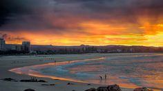 Kirra beach at sunset