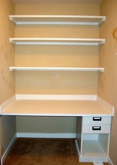 Desk & Bookshelf in closet - this is exactly what we should do in our office...