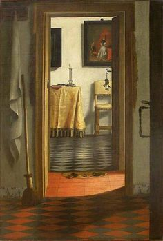 Ah, Vermeer! Maybe the first artist to ever make the interior a subject of painting, but certainly THE master of the interior. We are all just basically putting our own spin on his observations of looking though doors into rooms. (Johannes Vermeer)