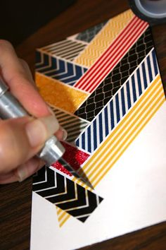 close up of how to get the ends of the washi in perfect alignment for with slight white space between intersecting lines in the chevron pattern ...