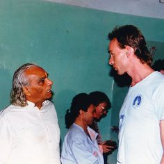 Photo of BKS Iyengar from the 1980s with student from German, Claus Grzesch, the founder of Kurma Yoga.