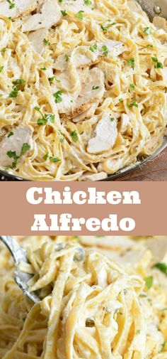 Chicken alfredo is a classic italian american dish made with rich creamy cheesy homemade alfredo sauce parmesan baked chicken and fettuccine pasta pasta chicken alfredo easydinner classicitalian Pasta Carbonara Receta, Pasta Alfredo Receta, Pasta Dental Casera, Pasta Casera, Fettuccine Recipes, Fettuccine Pasta, Chicken Fettuccine Alfredo Bake Recipe, Alfredo Pasta Bake, Pasta With Alfredo Sauce