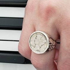 Italian Coin Ring sterling silver coin rings by Blue Bayer Design NYC 20 Centesimi Style Steampunk, White Opal Ring, Skeleton Key Necklace, My Gems, Tree Rings, Everyday Rings, Ring Watch, Bronze, Man Stuff