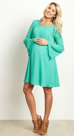 Now you have a go-to date night look thanks to this solid chiffon maternity dress. With a breezy and beautiful style featuring a bell sleeve for the most gorgeous bohemian inspired accent, this dress is perfect for a night out in comfort and style. Style this chiffon maternity dress with heels and a statement necklace for a perfect formal look.