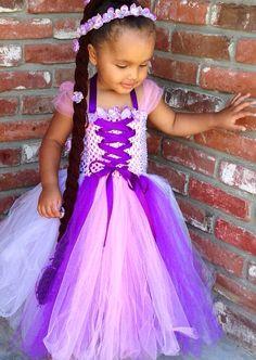 Disney Inspired Rapunzel Tangled Tutu Dress and braid. by NaomiBlu, $62.00