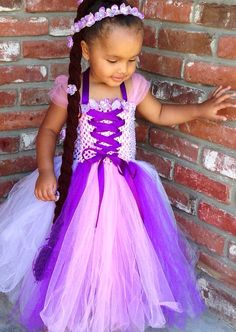 Disney Inspired Rapunzel Tangled Tutu Dress and braid. by NaomiBlu, $62.00