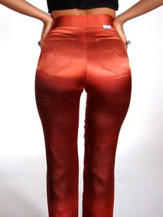 Vintage 70 High Waist Copper Rust Shiny Satin Disco Pants Jeans Skinny Glam…