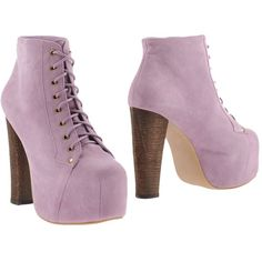 Jeffrey Campbell Ankle Boots ($115) ❤ liked on Polyvore featuring shoes, boots, ankle booties, lilac, short boots, square toe boots, bootie boots, ankle boots and rubber sole boots