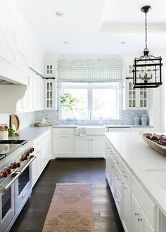 The Willow Lane House Reveal: Part I | Bria Hammel Interiors Cambria matte finish countertops again toning down the formality of the kitchen.