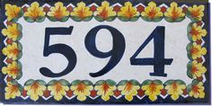 House Number Flowers Design. Address tile, Custom Sign Plaque .