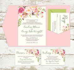Spring Floral Pocket Fold Wedding Invitation - Pink Pockets - Custom inserts - Custom Invitation Design