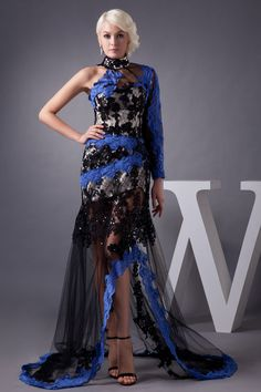 Stand Collar Natural Waist Sweep/Brush Train Full Back Long Sleeve Evening Dress