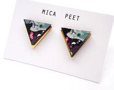 Blue Triangle Earrings - Laser Cut Wood - Geometric Jewellery - Triangle Jewellery - Stud Jewellery - Brass Earrings - Simple Earrings