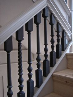 Black Stair Railing Black Stair Railing White Handrails Black Balusters All Change At St Black Iron Stair Railing Black Handrail White Spindles Wrought Iron Stair Spindles, Staircase Spindles, Black Stair Railing, Black Stairs, Painted Staircases, Stair Handrail, Painted Stairs, Staircase Design, Iron Balusters