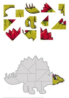 Jigsaw Puzzle with Stegosaurus Dinosaur from Jigsaw puzzles. Great collection of jigsaws and math pu Dinosaur Worksheets, Dinosaur Puzzles, Dinosaurs Preschool, Jigsaw Puzzles For Kids, Dinosaur Crafts, Maths Puzzles, Preschool Activities At Home, Toddler Learning Activities, Kids Learning