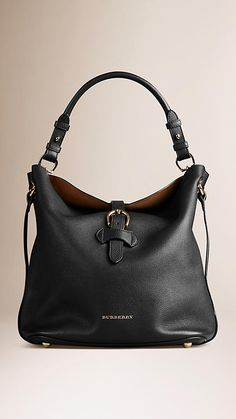 Black Medium Buckle Detail Leather Hobo Bag