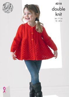 Kids Knitting Patterns, Knitting For Kids, Crochet For Kids, Knit Crochet, Cardigan Long, Lace Cardigan, Pull Bebe, King Cole, Little Girl Dresses