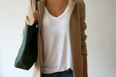 Camel coat with green leather