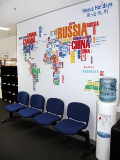 Design studio our work on pinterest wall lettering for Interior design travel agency office