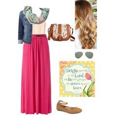 Sunny Fall ◆ Apostolic Pentecostal Fashion ◆ @ac_yooo.  Denim jacket with any long skirt and a coordinated scarf.  Nice Fall travel combo.